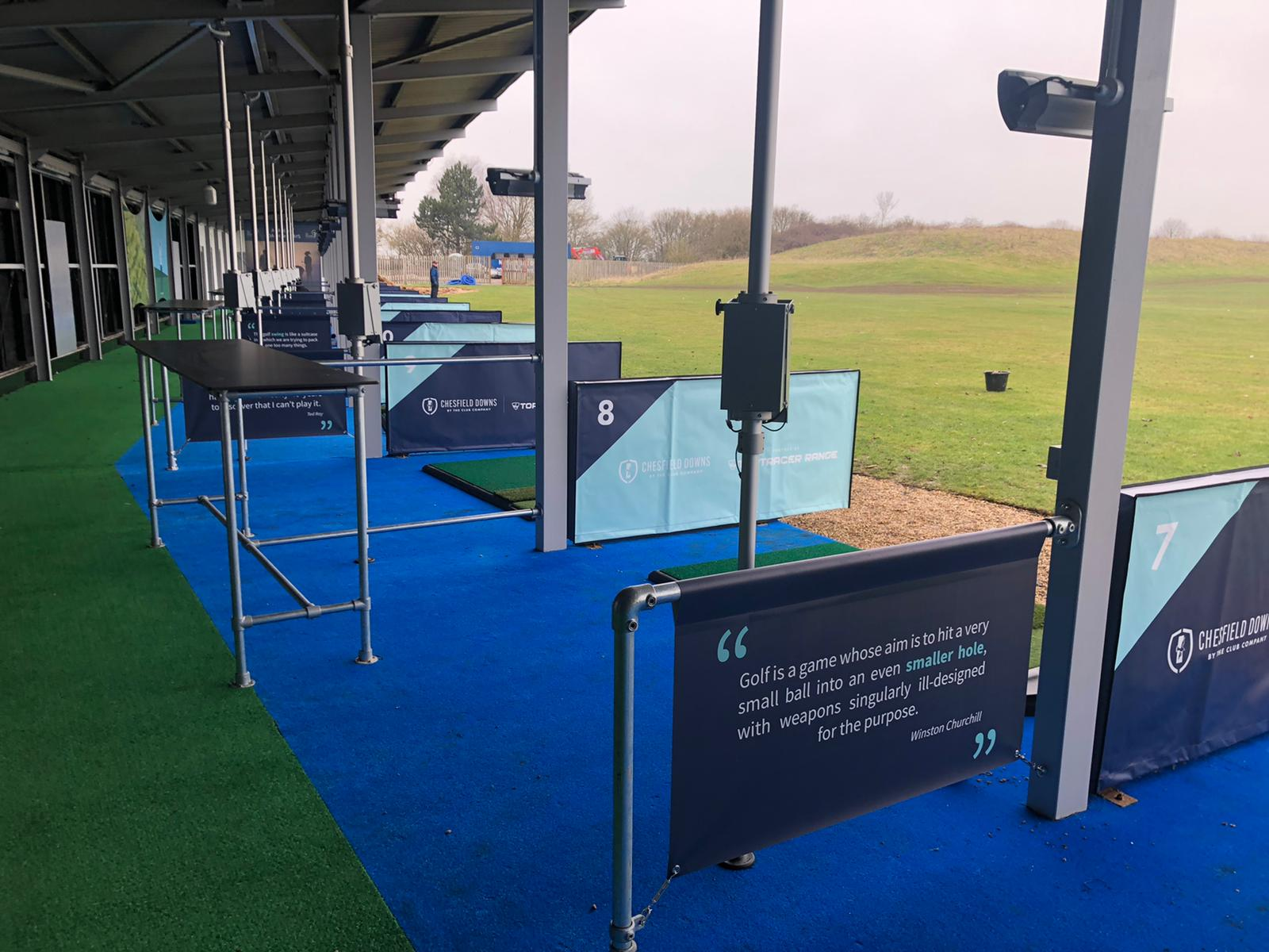 Toptracer bays at Chesfield Downs